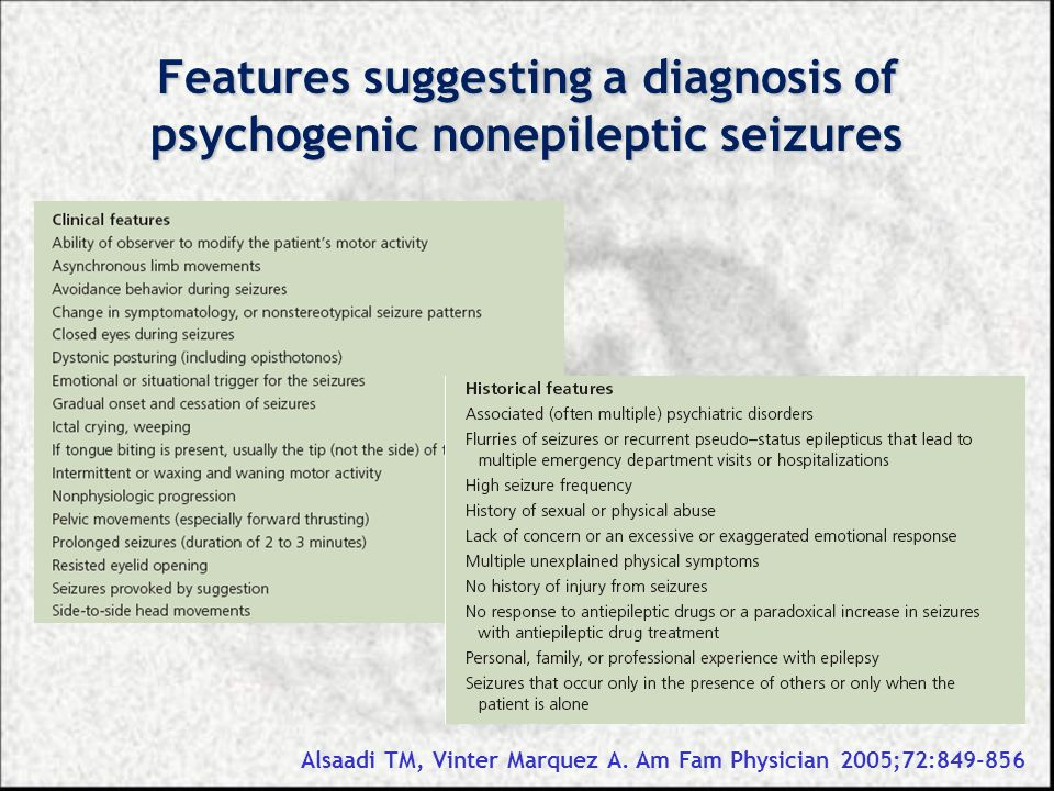 Features suggesting a diagnosis of psychogenic nonepileptic seizures Alsaadi TM, Vinter Marquez A. Am Fam Physician 2005;72:849-856