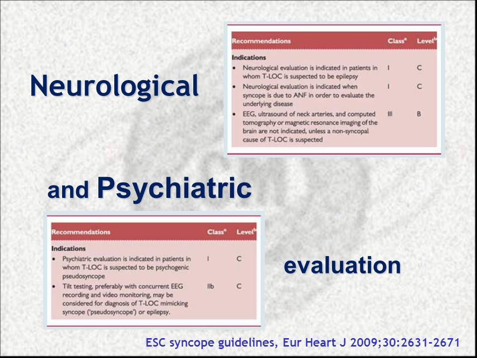 Neurological and Psychiatric evaluation ESC syncope guidelines, Eur Heart J 2009;30:2631-2671