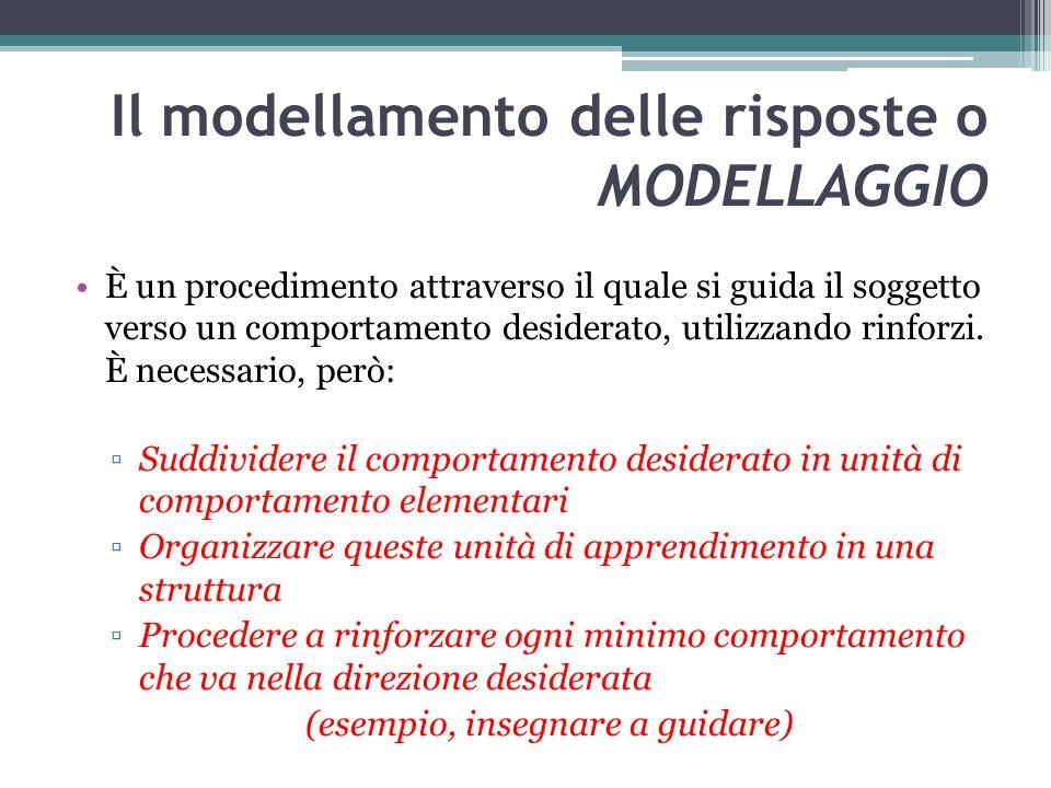 Il modellamento delle risposte o MODELLAGGIO È un procedimento attraverso il quale si guida il soggetto verso un comportamento desiderato, utilizzando