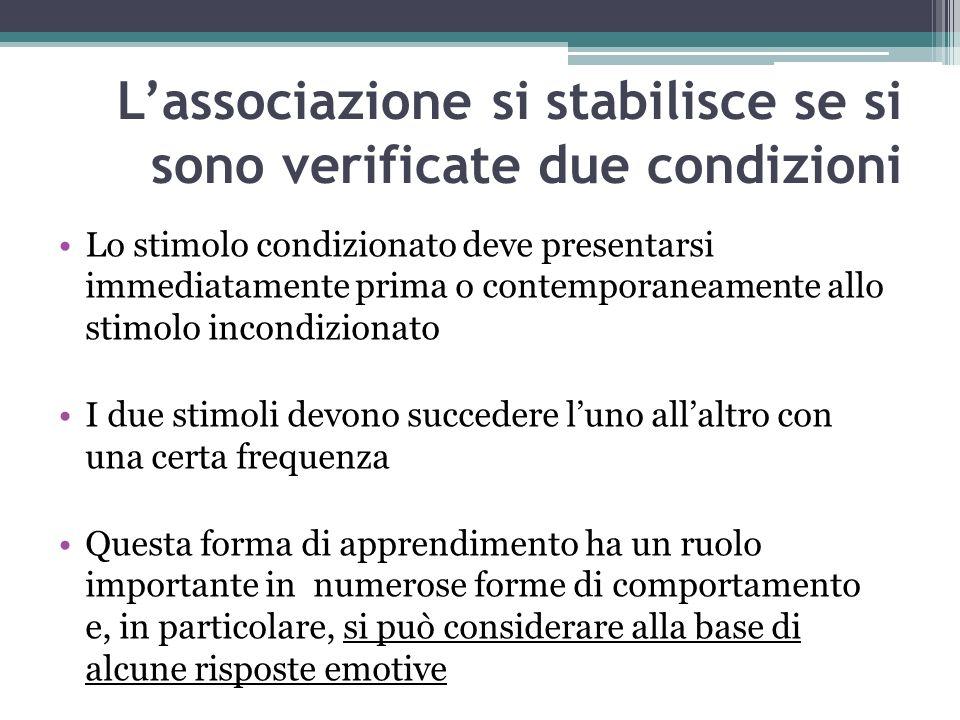 Lassociazione si stabilisce se si sono verificate due condizioni Lo stimolo condizionato deve presentarsi immediatamente prima o contemporaneamente al
