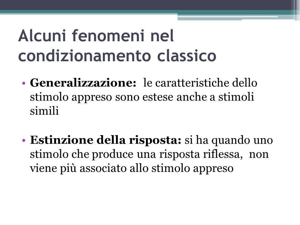 Alcuni fenomeni nel condizionamento classico Generalizzazione: le caratteristiche dello stimolo appreso sono estese anche a stimoli simili Estinzione