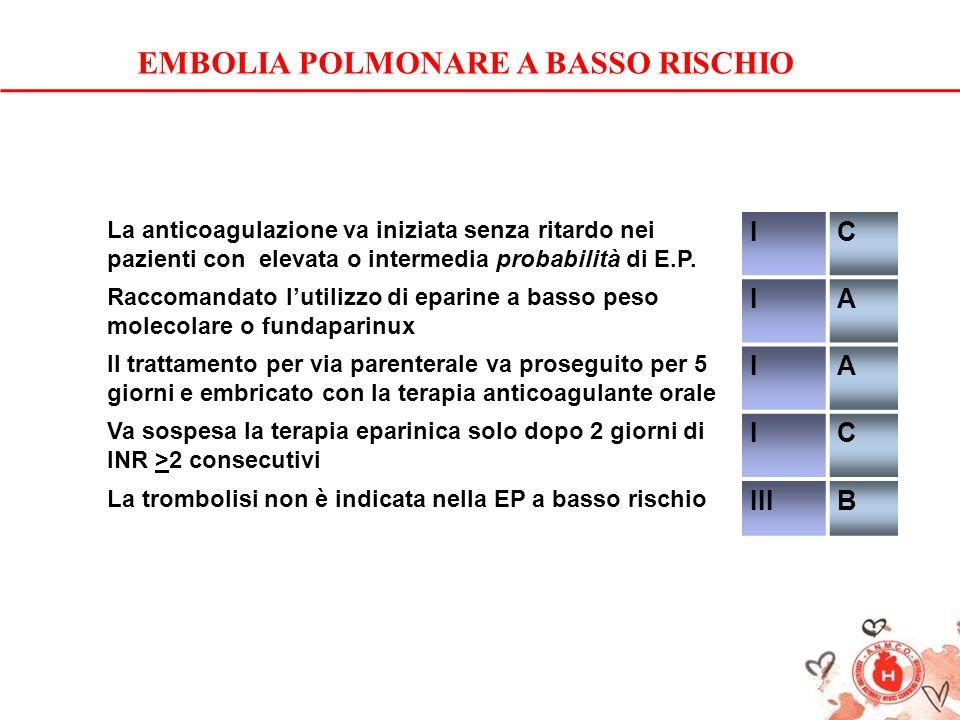 La anticoagulazione va iniziata senza ritardo nei pazienti con elevata o intermedia probabilità di E.P. IC Raccomandato lutilizzo di eparine a basso p