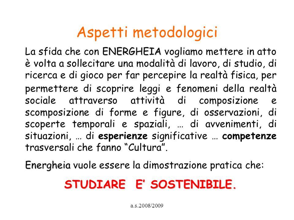 a.s.2008/2009 Aspetti metodologici ENERGHEIA La sfida che con ENERGHEIA vogliamo mettere in atto è volta a sollecitare una modalità di lavoro, di stud