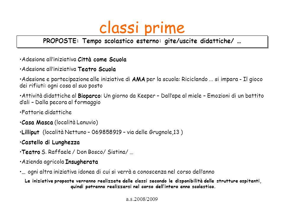 a.s.2008/2009 classi prime PROPOSTE: Tempo scolastico esterno: gite/uscite didattiche/ … Adesione alliniziativa Città come Scuola Adesione alliniziati