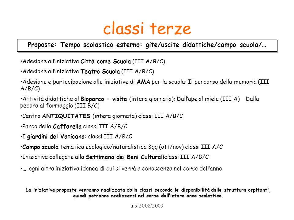 a.s.2008/2009 classi terze Proposte: Tempo scolastico esterno: gite/uscite didattiche/campo scuola/… Adesione alliniziativa Città come Scuola (III A/B