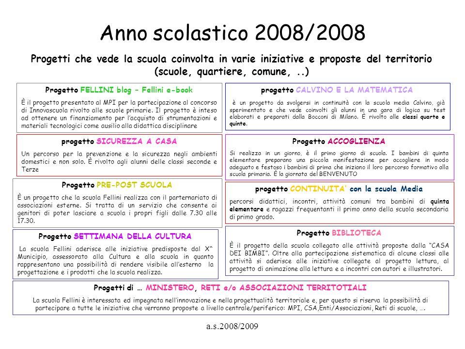 a.s.2008/2009 Anno scolastico 2008/2008 Progetti che vede la scuola coinvolta in varie iniziative e proposte del territorio (scuole, quartiere, comune