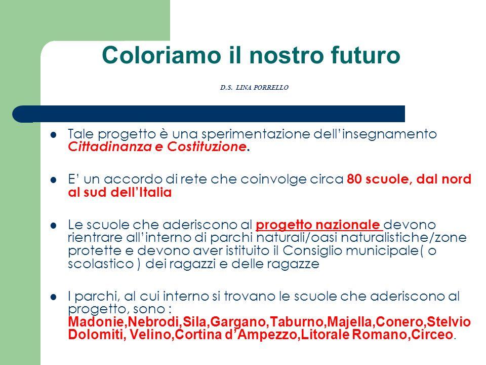 Coloriamo il nostro futuro D.S. LINA PORRELLO Tale progetto è una sperimentazione dellinsegnamento Cittadinanza e Costituzione. E un accordo di rete c