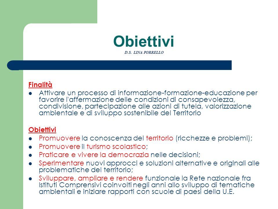 Obiettivi D.S. LINA PORRELLO Finalità Attivare un processo di informazione-formazione-educazione per favorire l'affermazione delle condizioni di consa