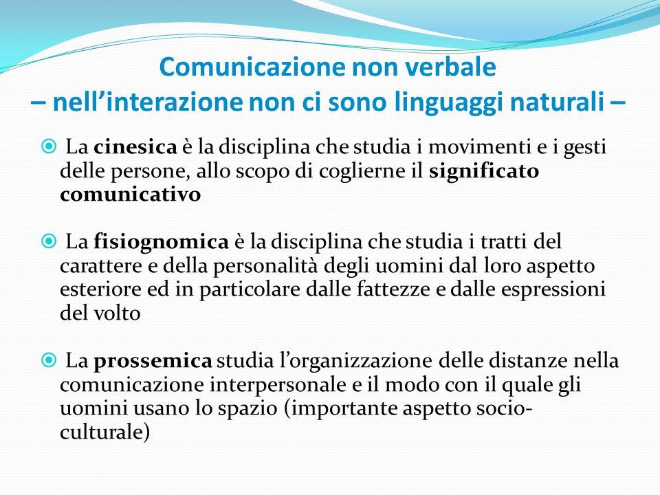 Comunicazione non verbale – nellinterazione non ci sono linguaggi naturali – La cinesica è la disciplina che studia i movimenti e i gesti delle person
