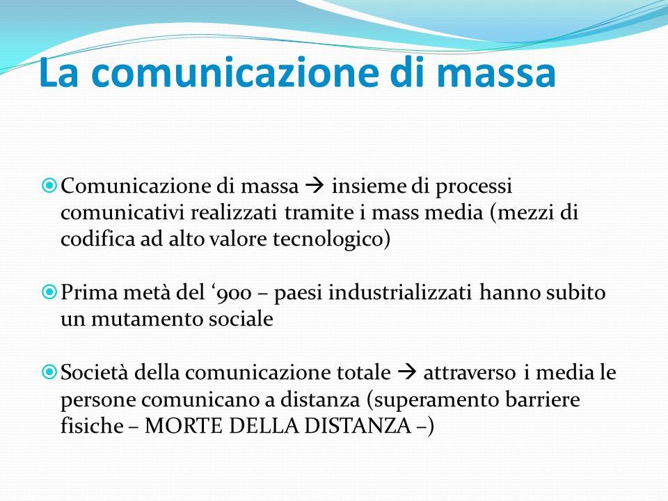 La comunicazione di massa Comunicazione di massa insieme di processi comunicativi realizzati tramite i mass media (mezzi di codifica ad alto valore te