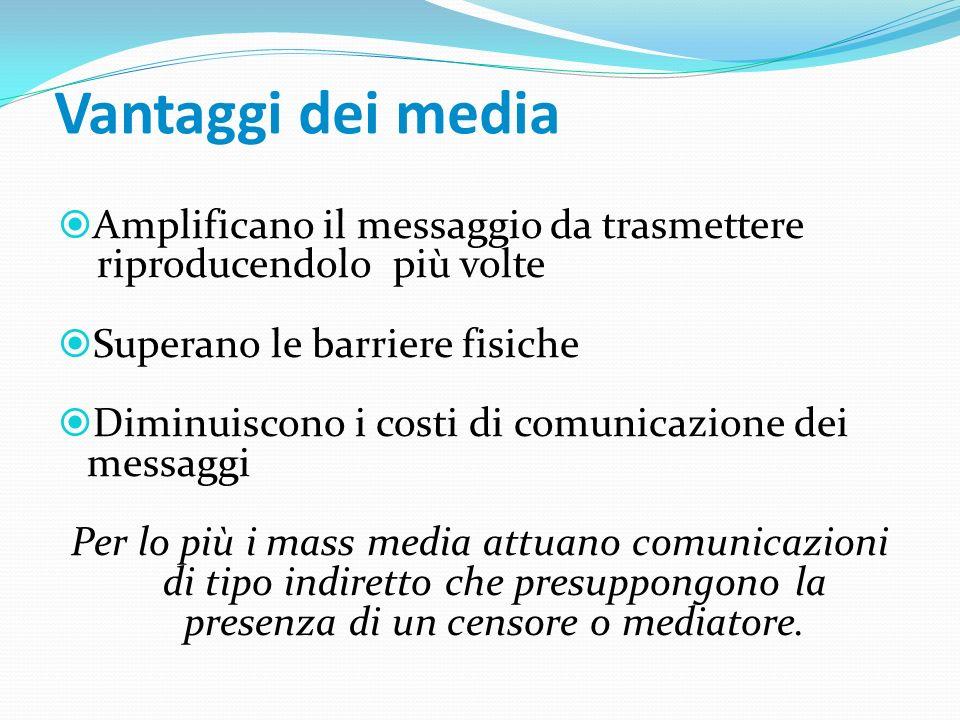 Vantaggi dei media Amplificano il messaggio da trasmettere riproducendolo più volte Superano le barriere fisiche Diminuiscono i costi di comunicazione dei messaggi Per lo più i mass media attuano comunicazioni di tipo indiretto che presuppongono la presenza di un censore o mediatore.