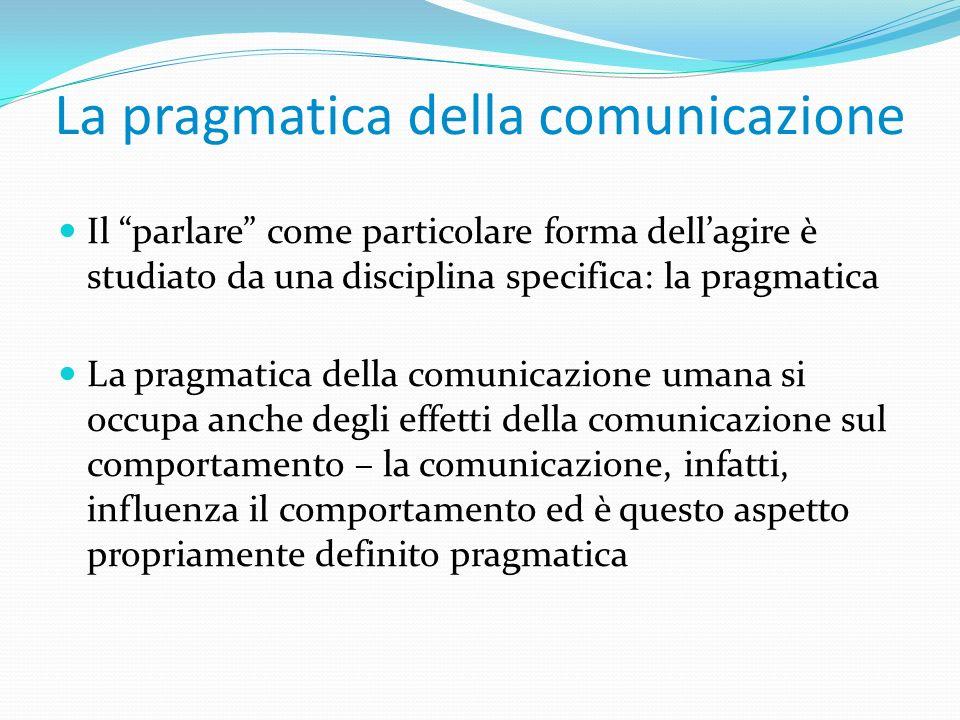 La pragmatica della comunicazione Il parlare come particolare forma dellagire è studiato da una disciplina specifica: la pragmatica La pragmatica dell