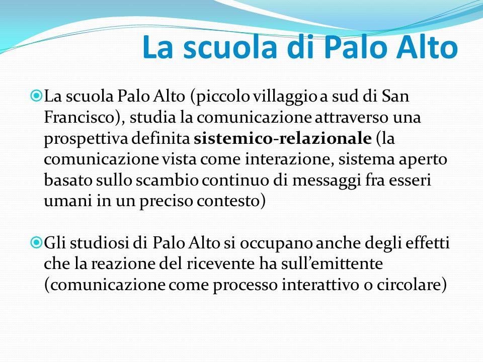 La scuola di Palo Alto La scuola Palo Alto (piccolo villaggio a sud di San Francisco), studia la comunicazione attraverso una prospettiva definita sis