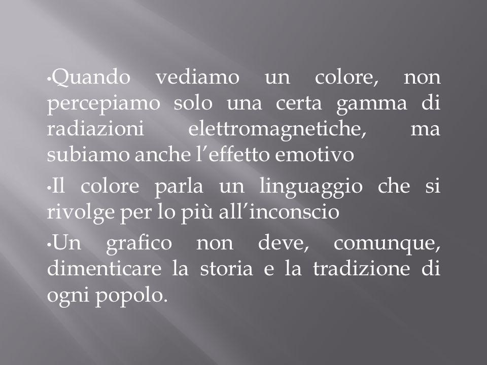Quando vediamo un colore, non percepiamo solo una certa gamma di radiazioni elettromagnetiche, ma subiamo anche leffetto emotivo Il colore parla un li
