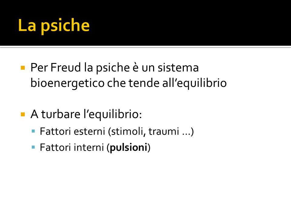 Per Freud la psiche è un sistema bioenergetico che tende allequilibrio A turbare lequilibrio: Fattori esterni (stimoli, traumi …) Fattori interni (pulsioni)