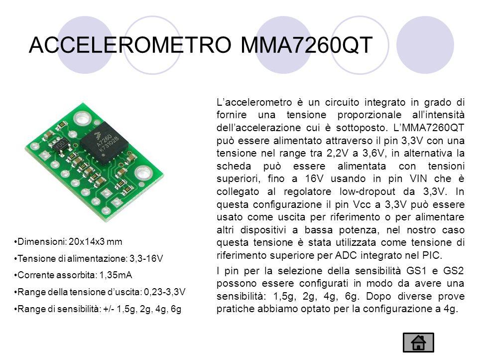 ACCELEROMETRO MMA7260QT Laccelerometro è un circuito integrato in grado di fornire una tensione proporzionale allintensità dellaccelerazione cui è sottoposto.