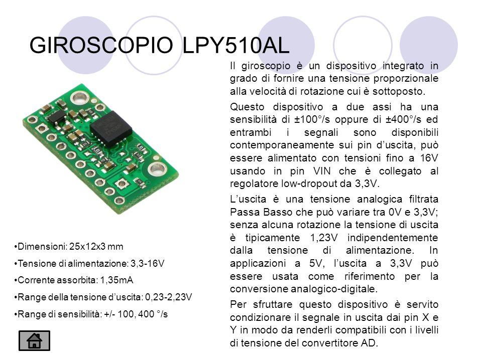 GIROSCOPIO LPY510AL Il giroscopio è un dispositivo integrato in grado di fornire una tensione proporzionale alla velocità di rotazione cui è sottoposto.