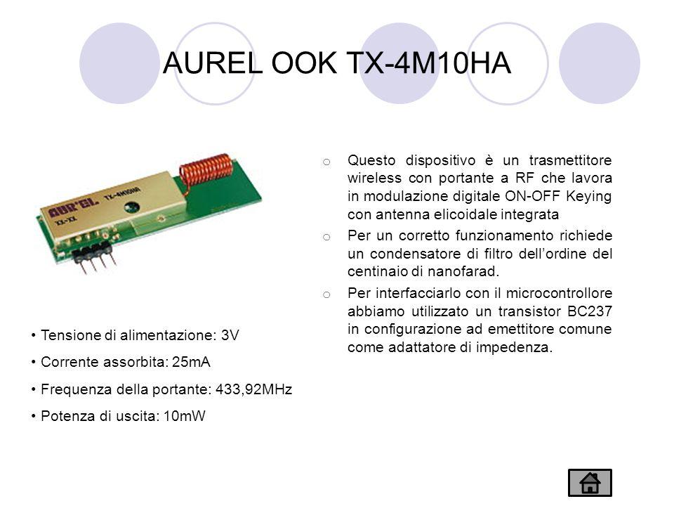 AUREL OOK TX-4M10HA o Questo dispositivo è un trasmettitore wireless con portante a RF che lavora in modulazione digitale ON-OFF Keying con antenna elicoidale integrata o Per un corretto funzionamento richiede un condensatore di filtro dellordine del centinaio di nanofarad.