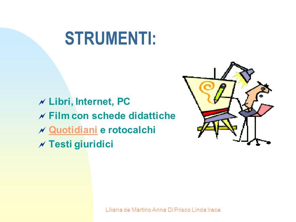 Liliana de Martino Anna Di Prisco Linda Irace Libri, Internet, PC Film con schede didattiche Quotidiani e rotocalchi Quotidiani Testi giuridici STRUMENTI: