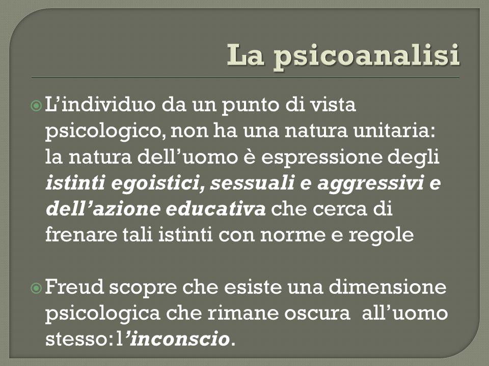 Lindividuo da un punto di vista psicologico, non ha una natura unitaria: la natura delluomo è espressione degli istinti egoistici, sessuali e aggressi