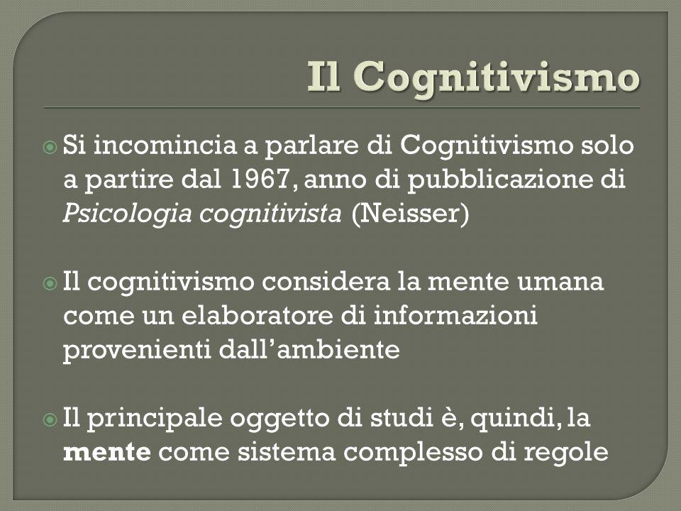 Si incomincia a parlare di Cognitivismo solo a partire dal 1967, anno di pubblicazione di Psicologia cognitivista (Neisser) Il cognitivismo considera