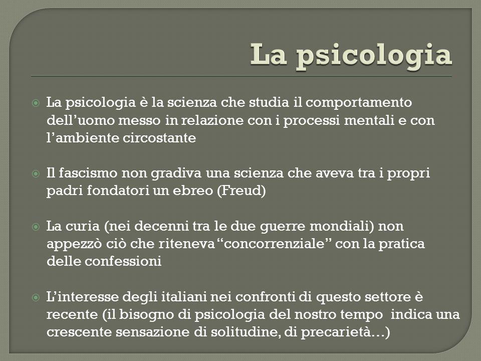 La psicologia è la scienza che studia il comportamento delluomo messo in relazione con i processi mentali e con lambiente circostante Il fascismo non