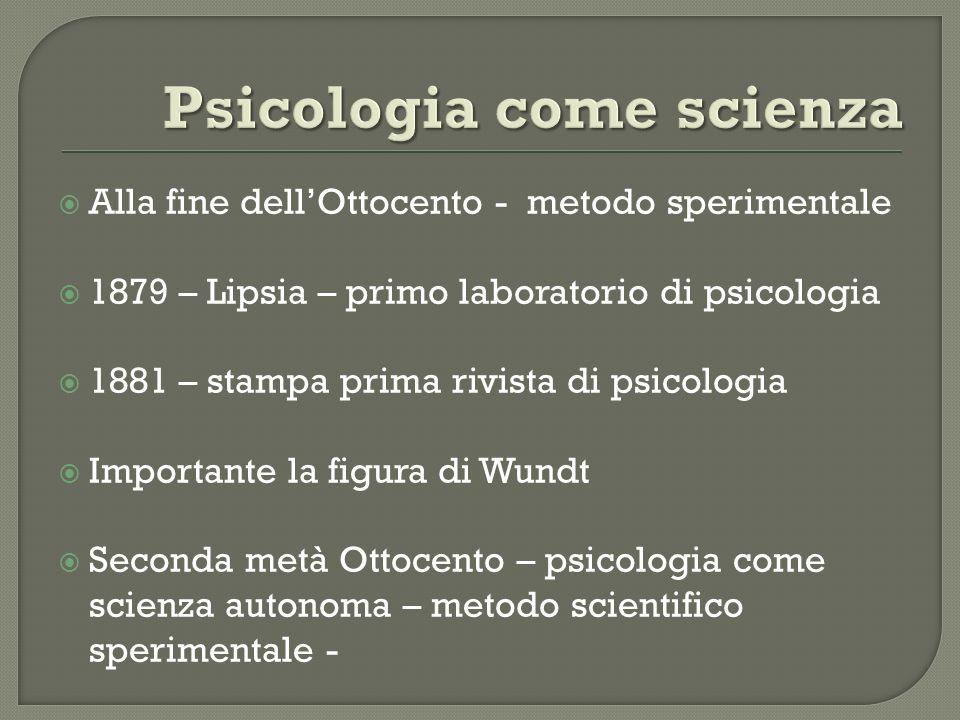 Alla fine dellOttocento - metodo sperimentale 1879 – Lipsia – primo laboratorio di psicologia 1881 – stampa prima rivista di psicologia Importante la