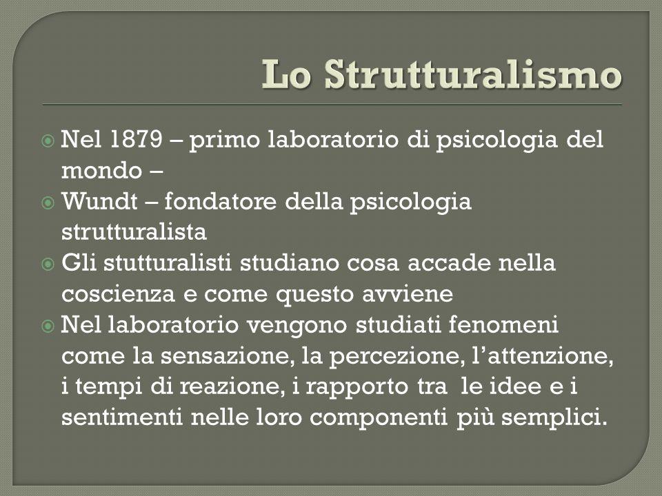 Nel 1879 – primo laboratorio di psicologia del mondo – Wundt – fondatore della psicologia strutturalista Gli stutturalisti studiano cosa accade nella