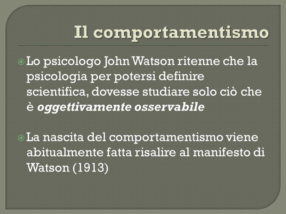 Lo psicologo John Watson ritenne che la psicologia per potersi definire scientifica, dovesse studiare solo ciò che è oggettivamente osservabile La nas