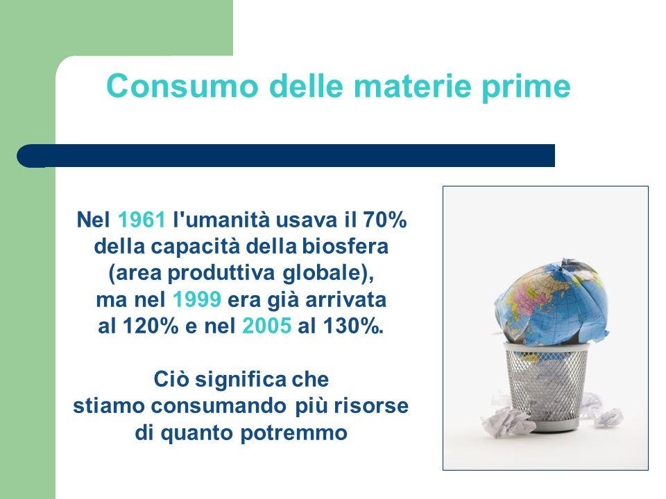 Nel 1961 l umanità usava il 70% della capacità della biosfera (area produttiva globale), ma nel 1999 era già arrivata al 120% e nel 2005 al 130%.