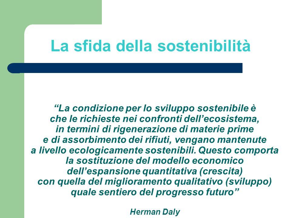 La condizione per lo sviluppo sostenibile è che le richieste nei confronti dellecosistema, in termini di rigenerazione di materie prime e di assorbime