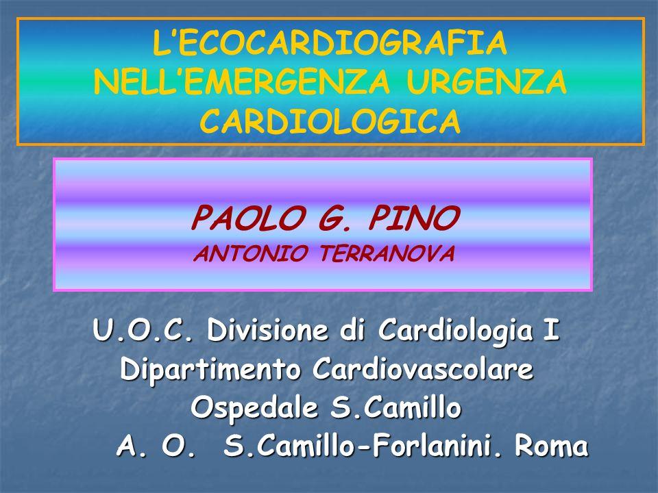 PAOLO G. PINO ANTONIO TERRANOVA LECOCARDIOGRAFIA NELLEMERGENZA URGENZA CARDIOLOGICA U.O.C. Divisione di Cardiologia I Dipartimento Cardiovascolare Osp