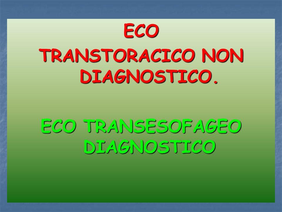 ECO TRANSTORACICO NON DIAGNOSTICO. ECO TRANSESOFAGEO DIAGNOSTICO