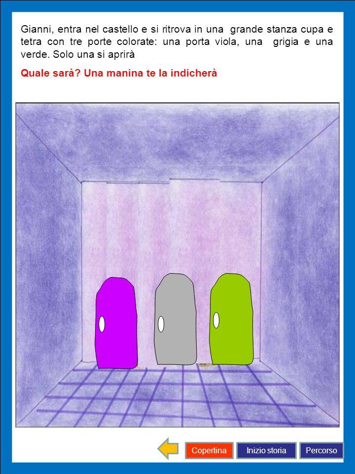 Inizio storiaPercorsoCopertina Gianni, entra nel castello e si ritrova in una grande stanza cupa e tetra con tre porte colorate: una porta viola, una
