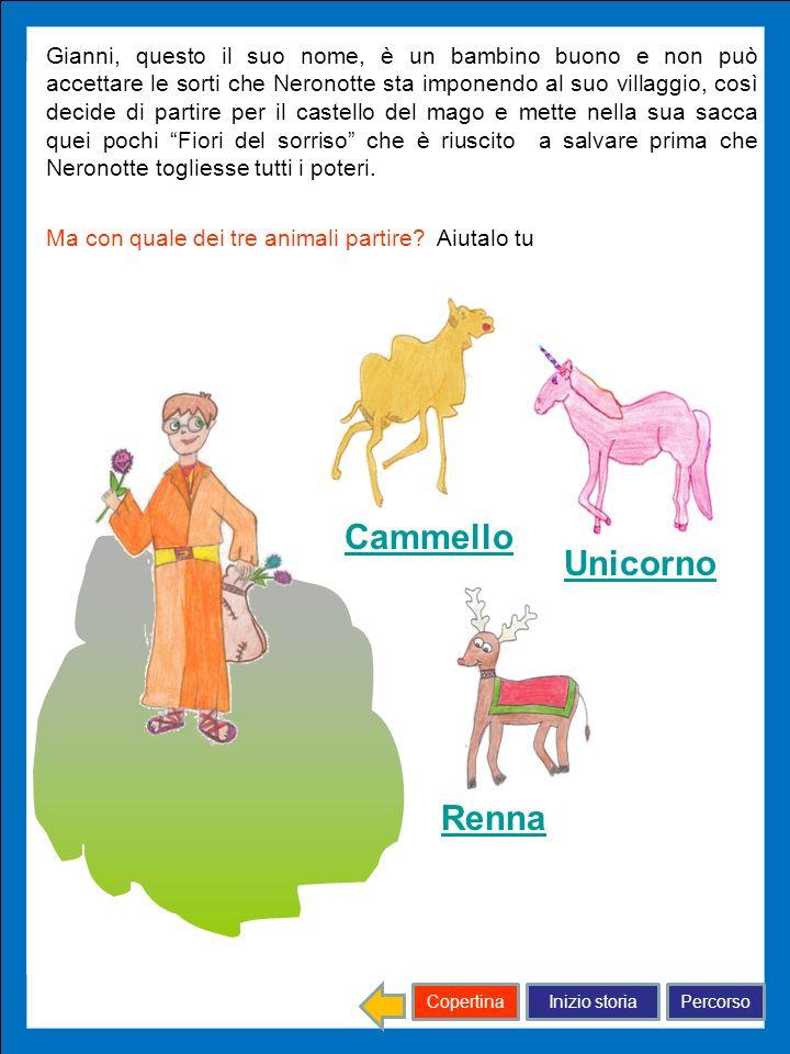 Inizio storiaPercorsoCopertina Cammello Renna Unicorno Gianni, questo il suo nome, è un bambino buono e non può accettare le sorti che Neronotte sta i