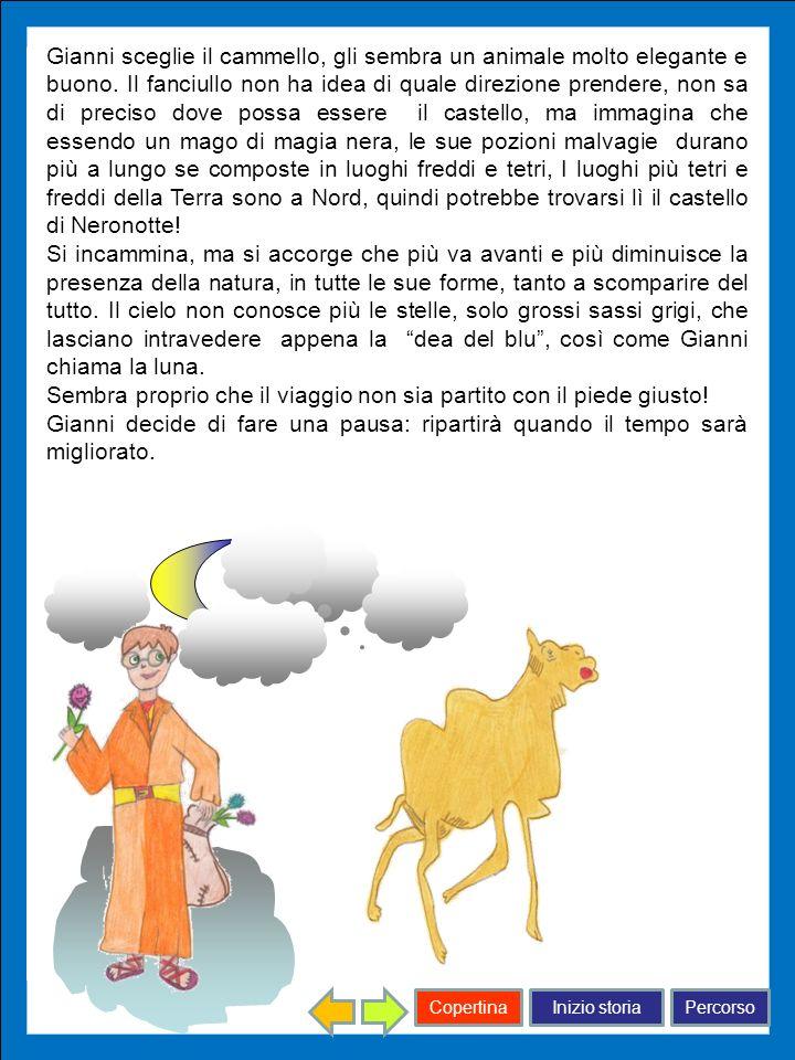 Inizio storiaPercorsoCopertina Gianni sceglie il cammello, gli sembra un animale molto elegante e buono. Il fanciullo non ha idea di quale direzione p
