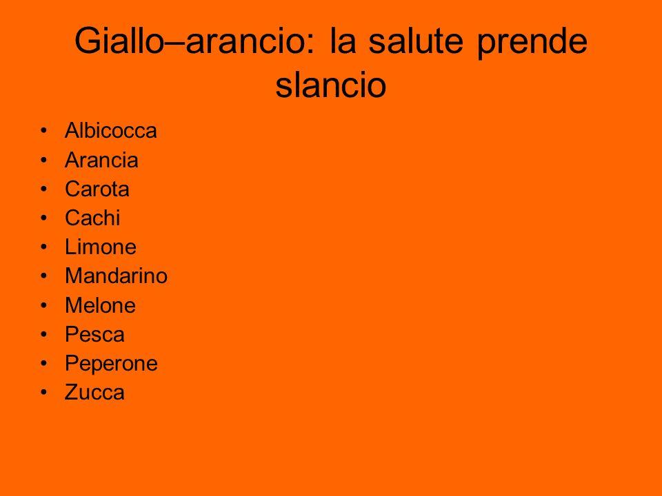 Giallo–arancio: la salute prende slancio Albicocca Arancia Carota Cachi Limone Mandarino Melone Pesca Peperone Zucca