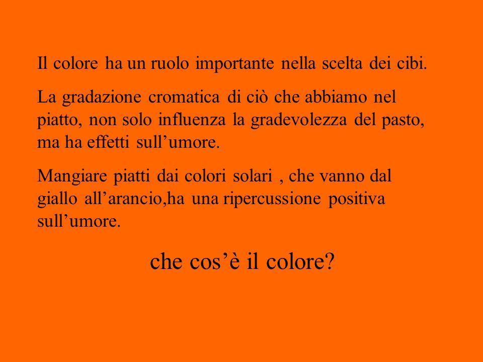 Il colore ha un ruolo importante nella scelta dei cibi. La gradazione cromatica di ciò che abbiamo nel piatto, non solo influenza la gradevolezza del