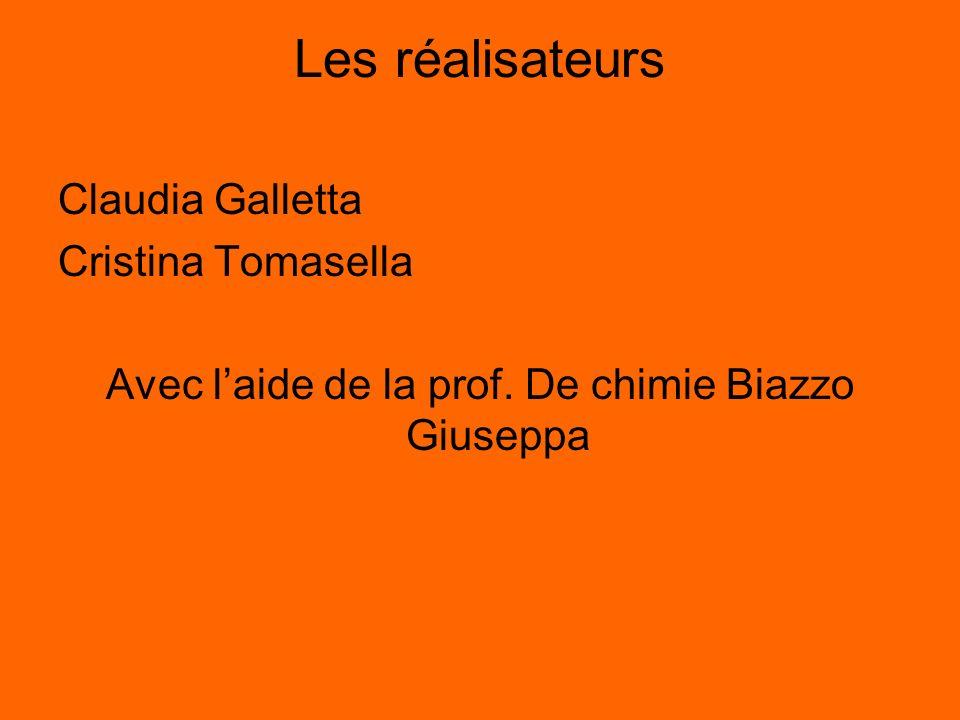 Les réalisateurs Claudia Galletta Cristina Tomasella Avec laide de la prof. De chimie Biazzo Giuseppa