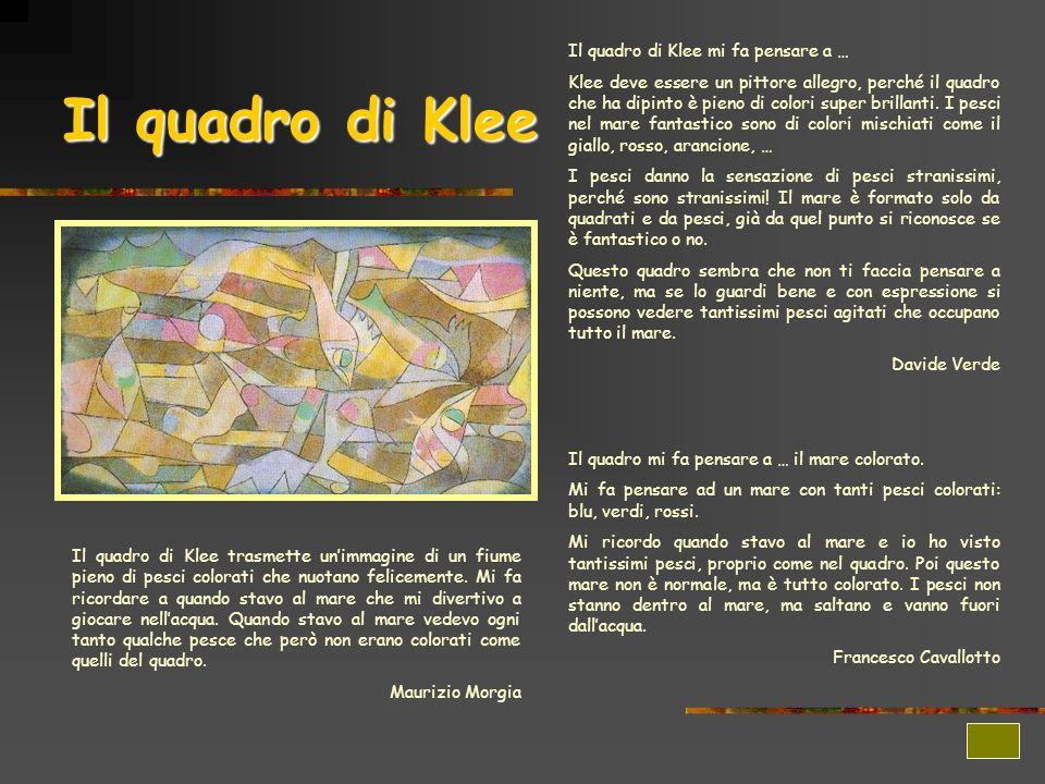 Il quadro di Klee Il quadro di Klee mi fa pensare a … Klee deve essere un pittore allegro, perché il quadro che ha dipinto è pieno di colori super bri