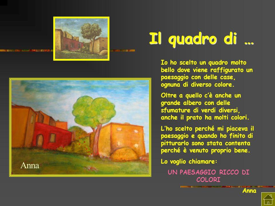 Il quadro di … Io ho scelto un quadro molto bello dove viene raffigurato un paesaggio con delle case, ognuna di diverso colore. Oltre a quello cè anch