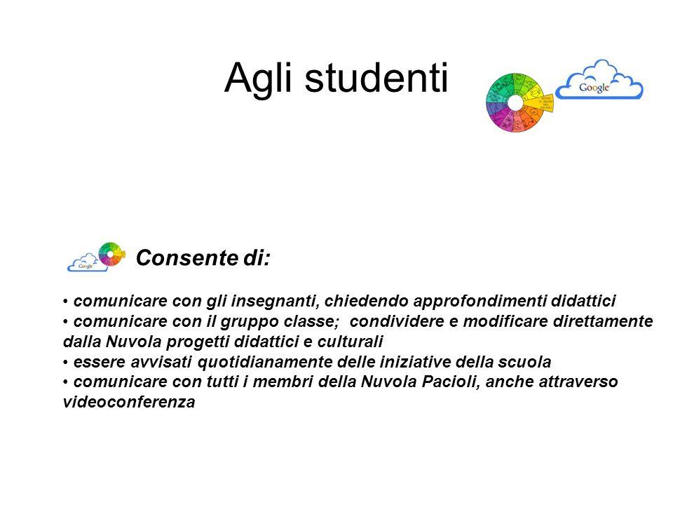 Agli studenti Consente di: comunicare con gli insegnanti, chiedendo approfondimenti didattici comunicare con il gruppo classe; condividere e modificar