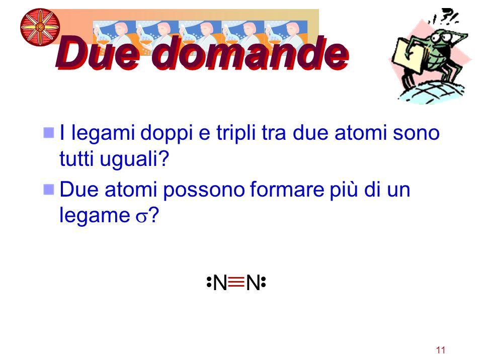 11 Due domande I legami doppi e tripli tra due atomi sono tutti uguali? Due atomi possono formare più di un legame ? NN