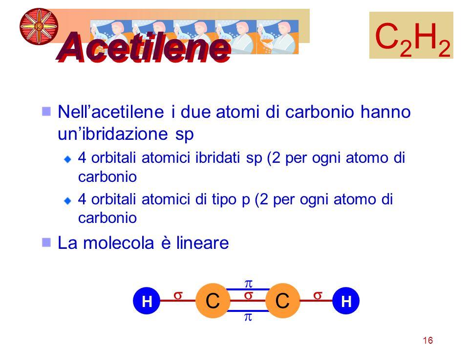 16 Acetilene C2H2C2H2 Nellacetilene i due atomi di carbonio hanno unibridazione sp 4 orbitali atomici ibridati sp (2 per ogni atomo di carbonio 4 orbi