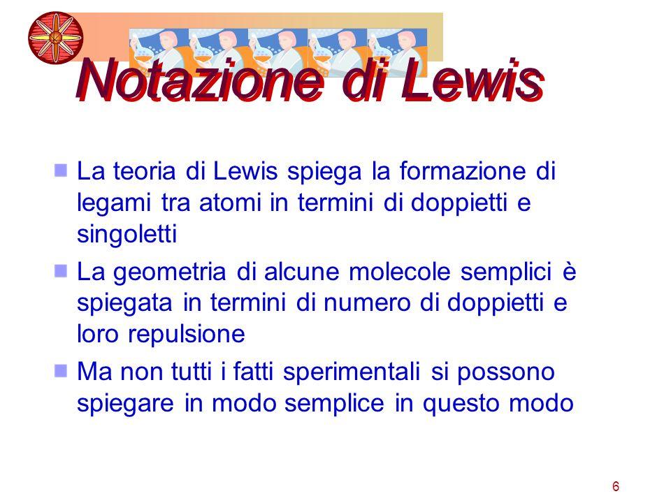 6 Notazione di Lewis La teoria di Lewis spiega la formazione di legami tra atomi in termini di doppietti e singoletti La geometria di alcune molecole