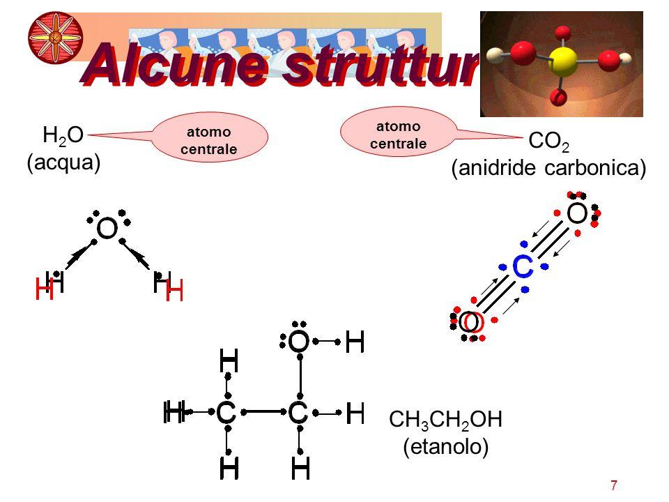 7 Alcune strutture H 2 O (acqua) CO 2 (anidride carbonica) CH 3 CH 2 OH (etanolo) atomo centrale
