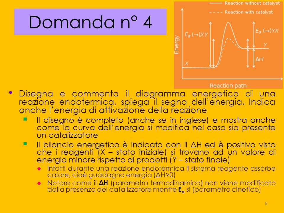 17 Domanda n° 15 Bilancia lequazione, ricava la costante di equilibrio chimico della seguente reazione reversibile 3 Ca 2+ + 2 PO 4 3- _ Ca 3 (PO 4 ) 2 ; sapendo che allequilibrio, a 20 °C, si trovano 5,4 (mol/L) di Ca 2+, 2,9 (mol/L) di PO 4 3- e 9,3 (mol/L) di Ca 3 (PO 4 ) 2 calcola il valore della costante e spiega quale significato dai alla costante Si deve applicare la legge d azione di massa alla specifica reazione e sostituire i valori di concentrazione proposti K c = 9,3 / ((5,4) 3 x (2,9) 2 = 0,07 Il valore più basso di 1 della Kc indica che l equilibrio, a 20 °C, è poco spostato verso i prodotti e la concentrazione dei reagenti è maggiore di quella dei prodotti Il sale è molto dissociato 17