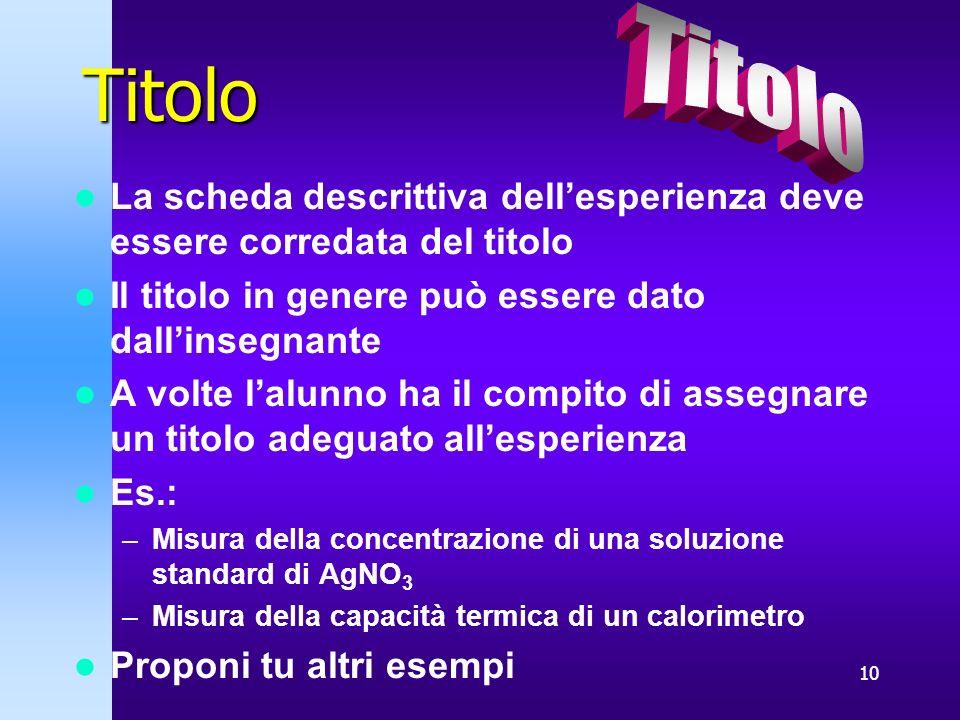 10 Titolo La scheda descrittiva dellesperienza deve essere corredata del titolo Il titolo in genere può essere dato dallinsegnante A volte lalunno ha