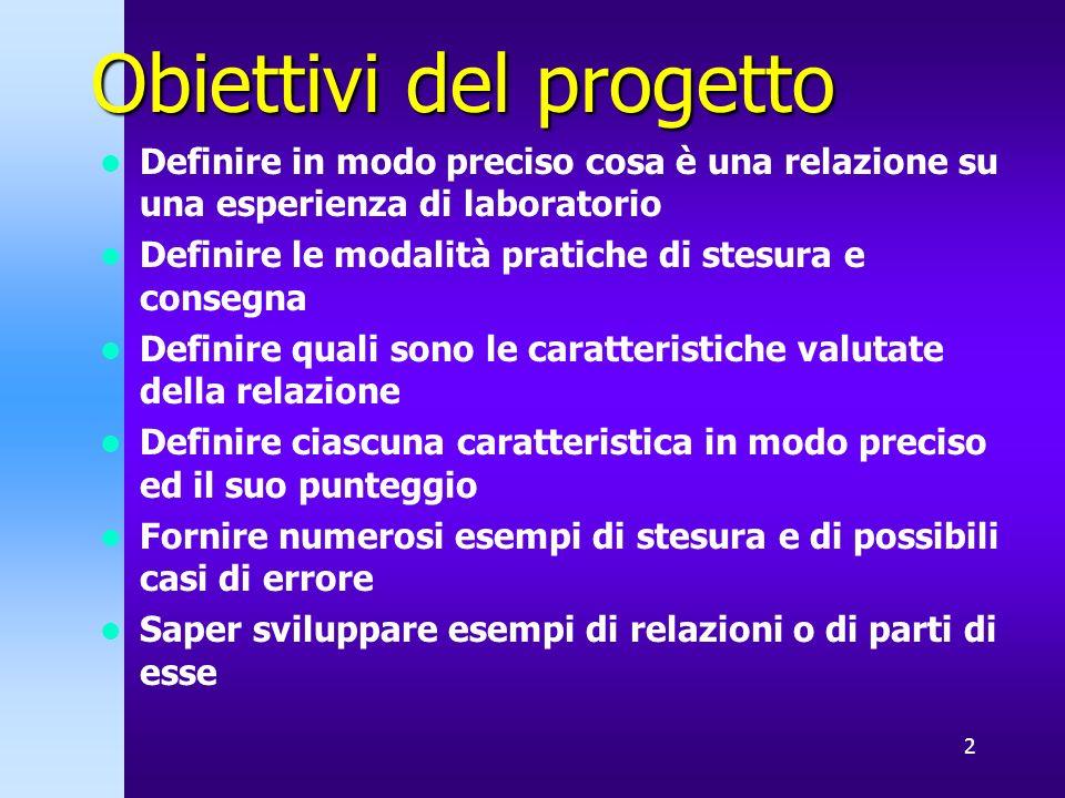 2 Obiettivi del progetto Definire in modo preciso cosa è una relazione su una esperienza di laboratorio Definire le modalità pratiche di stesura e con