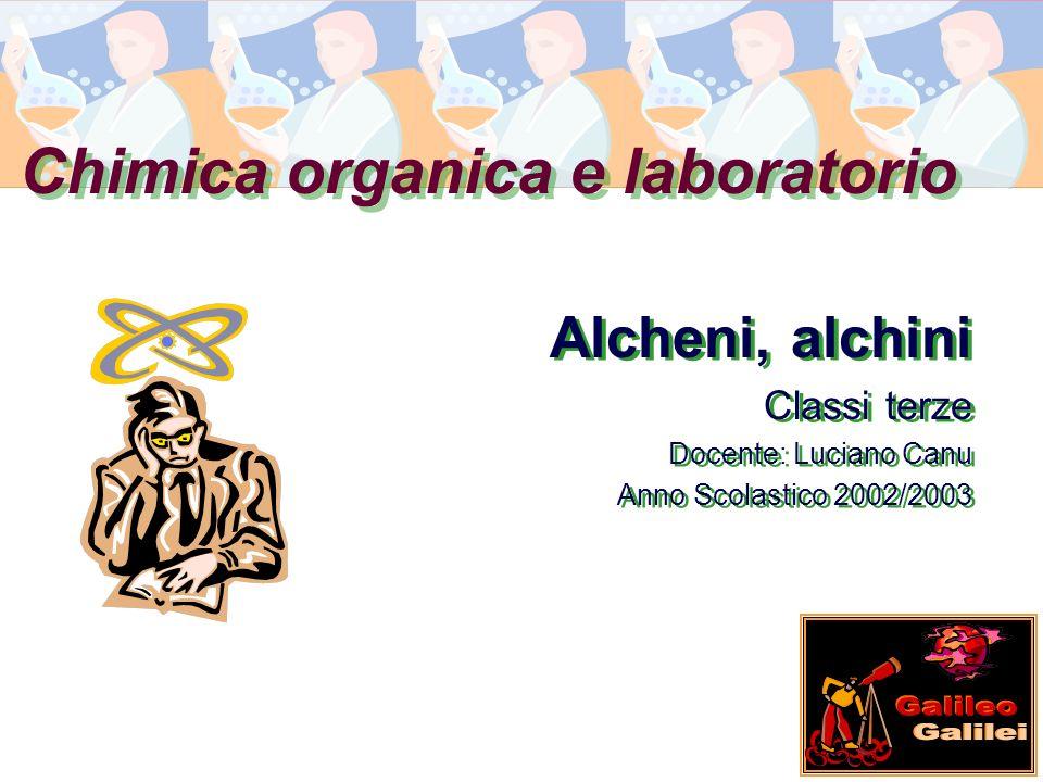 Chimica organica e laboratorio Alcheni, alchini Classi terze Docente: Luciano Canu Anno Scolastico 2002/2003 Alcheni, alchini Classi terze Docente: Lu